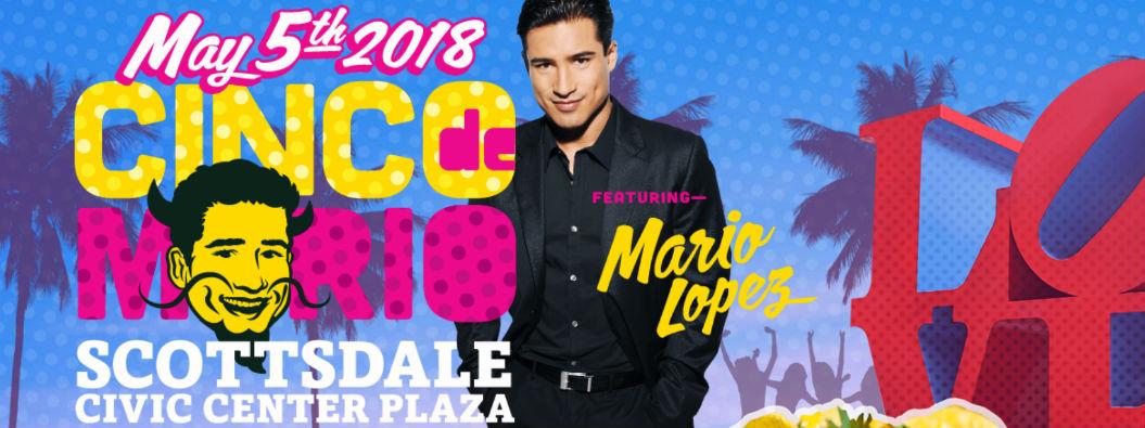 Cinco de Mario ad with event details and Mario Lopez