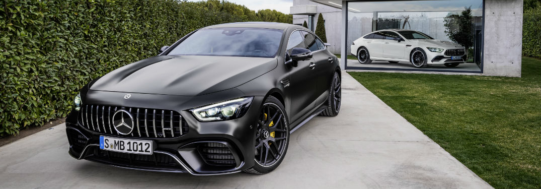 2019 AMG GT 4-Door Coupe in front of a garage