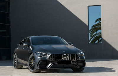 2019 Mercedes-AMG GT Four-Door Coupe exterior front fascia and passenger side