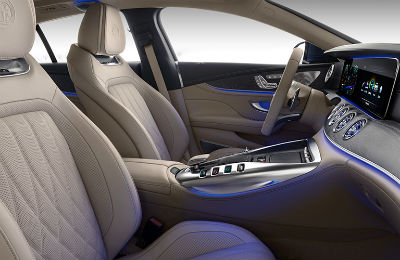 2019 Mercedes-AMG-GT Four-Door Coupe interior front cabin with ambient lighting