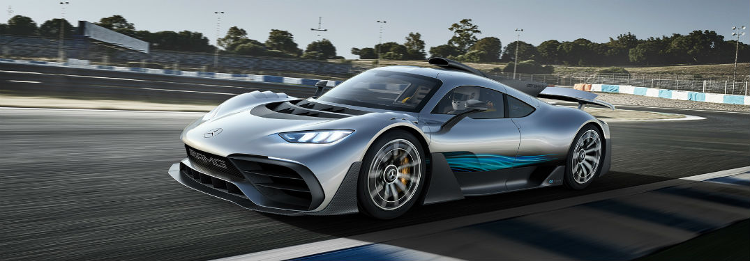 Mercedes AMG® ONE exterior front fascia and drivers side going fast on racetrack