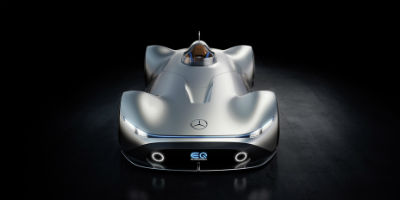 Mercedes-Benz EQ Silver Arrow exterior front fascia and top view with dramatic lighting