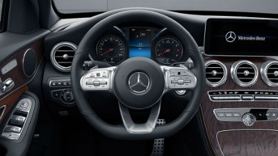 2019 C-Class Sedan interior sport steering wheel close up