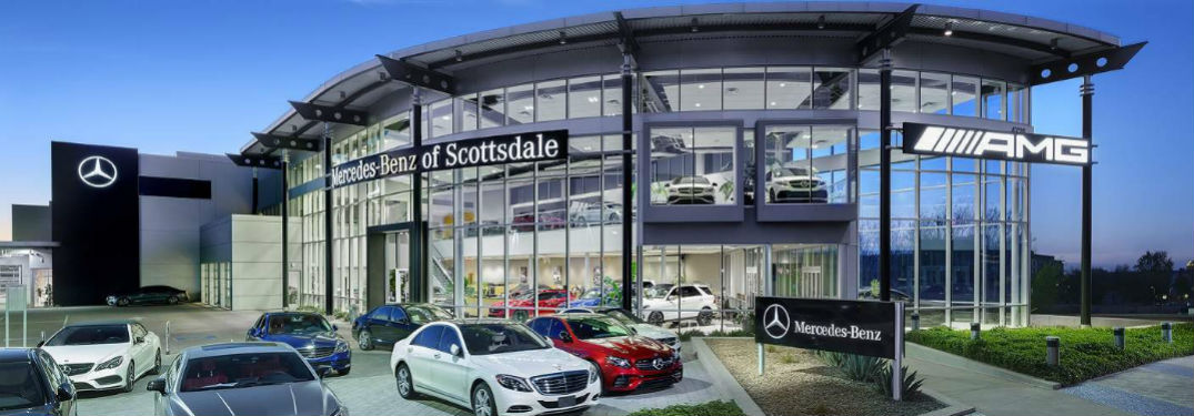 MB Scottsdale dealership exterior building with MB cars scattered in parking lot