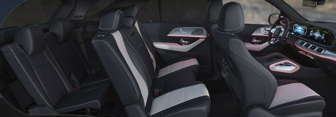 2020 MB GLE new 3rd row seat side view of all cabin seats and MBUX® system and steering wheel