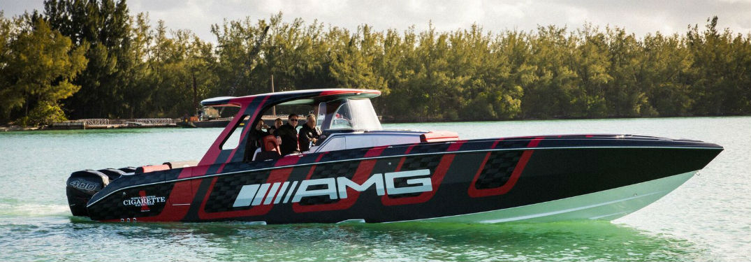 Cigarette Racing 41' AMG® Carbon Edition exterior side view in water with AMG® on side