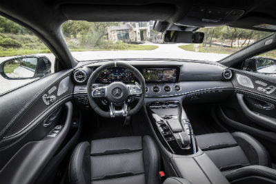 2019 MB AMG® GT 4-Door Coupe interior front cabin steering wheel dashboard and partial seats