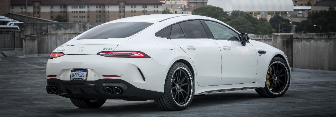 2019 Mercedes-Benz GT 4-Door Coupe exterior back fascia passenger side parked in empty city lot