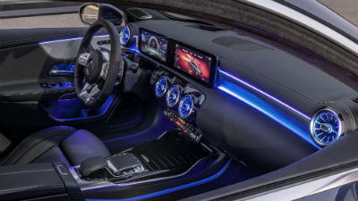 2020 MB A-Class interior front cabin steering wheel and dashboard with blue ambient lighting