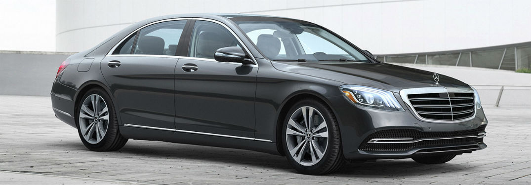 2019 MB S-Class exterior front fascia and passenger side in empty tile lot