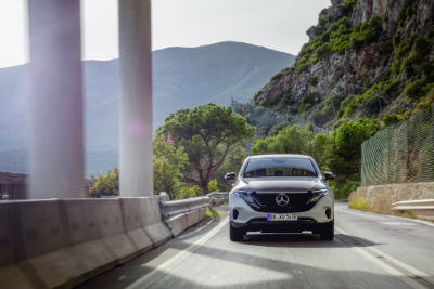 2020 MB EQC exterior front fascia on road with mountain background