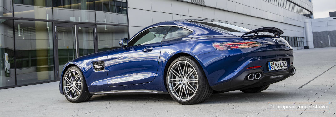 2020 MB AMG GT Coupe exterior back fascia and driver side parked in front of dealership