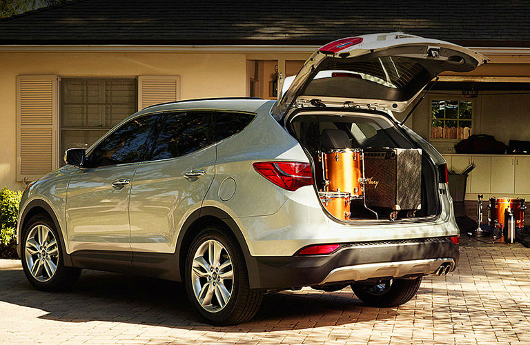 Hyundai Santa Fe With Rear Liftgate Open Showing View Of Large Cargo Area