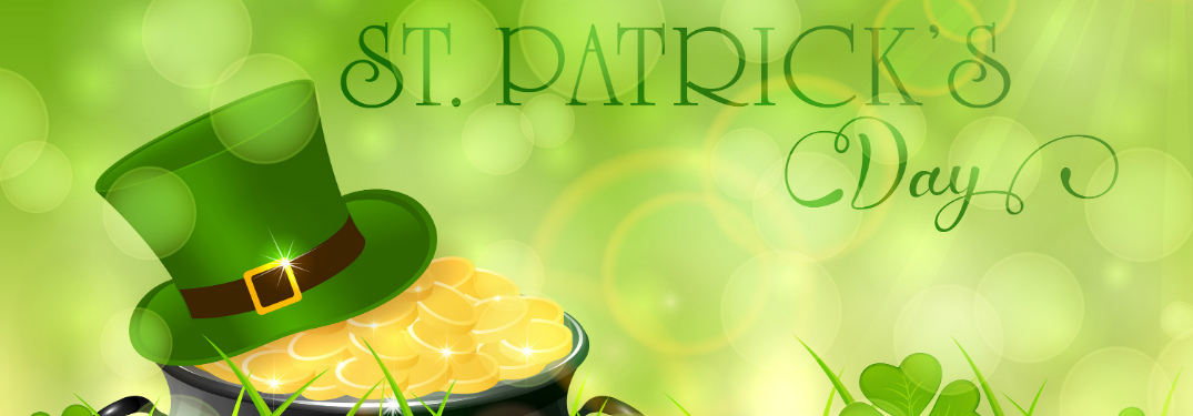 """st. patrick's day"" text over green background with leprechaun hat on pot of gold"