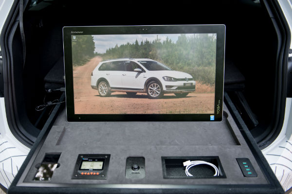 vw golf alltrack country concept interior features television