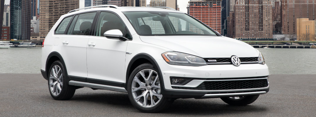 white 2018 VW Golf Alltrack in an open lot