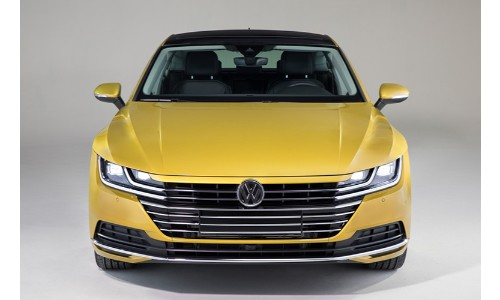 2019-VW-Arteon-Yellow-direct-shot-facing-front-with-white-blank-background