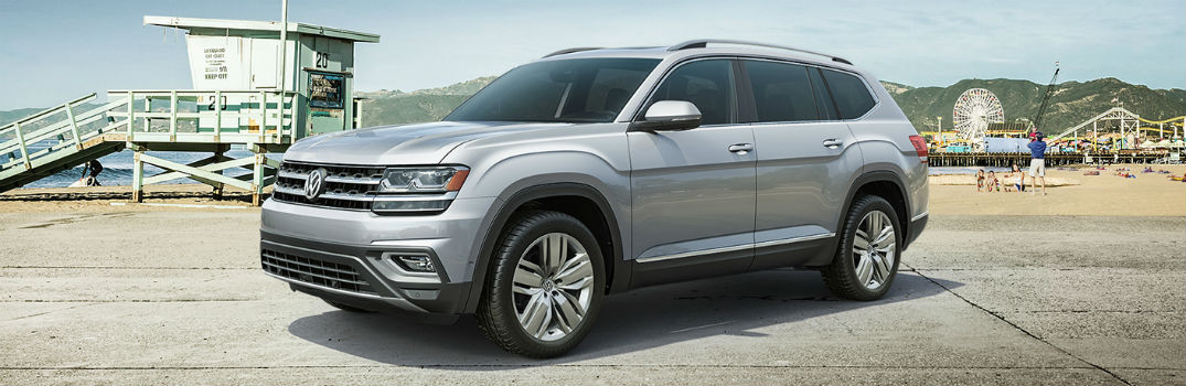 2019 VW Atlas exterior profile, parked on a beach.
