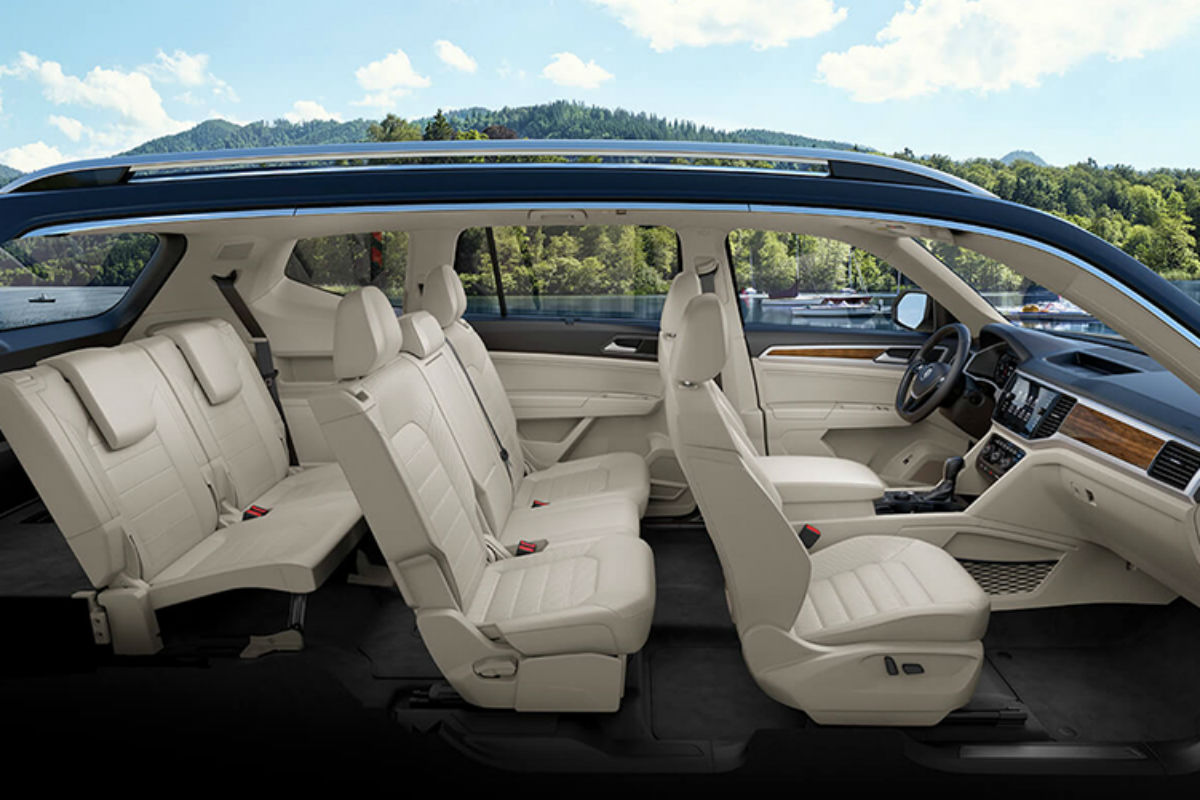Side view of the three rows of seating in the 2019 VW Atlas
