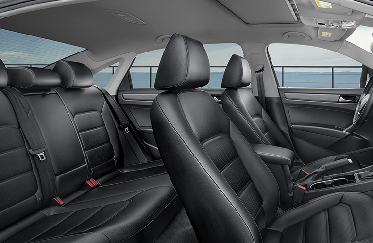 Side view of the interior seating inside a 2020 Volkswagen Passat.