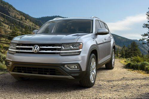 2019 VW Atlas parked on gravel near mountains