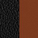 Orange-black two-tone leather