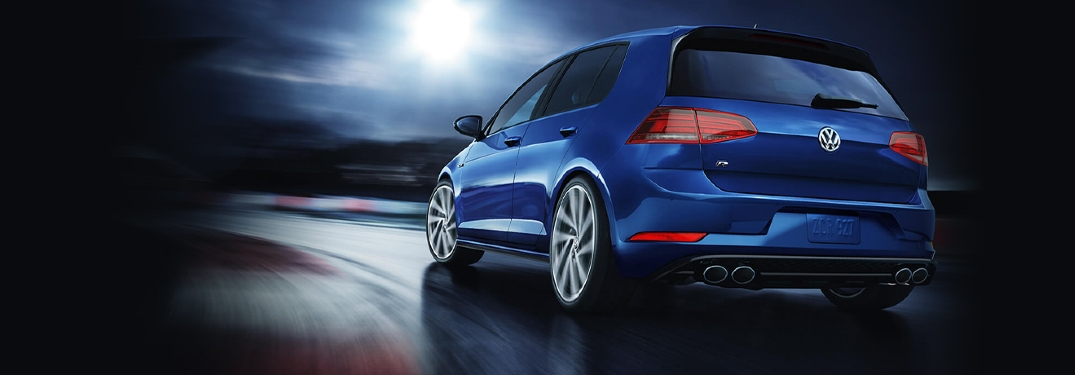 2019 Golf R driving on racetrack rear view