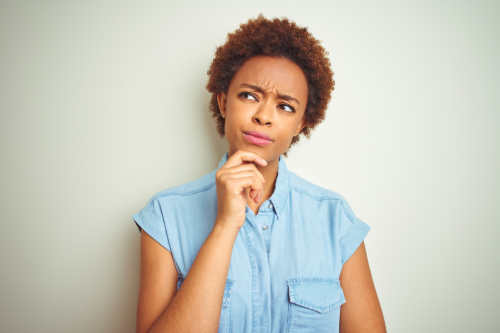 woman thinking about something