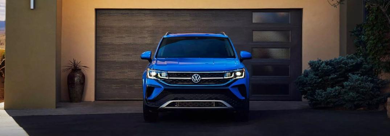 2022 Taos parked in front of garage door