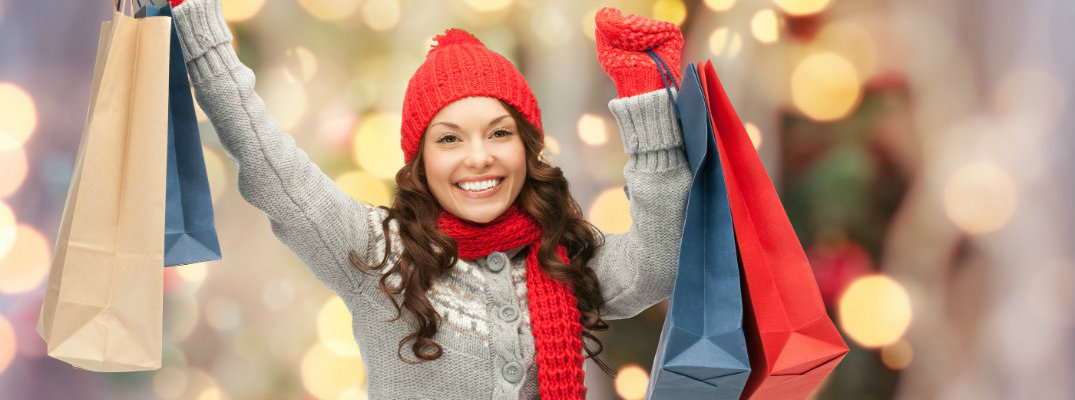 Smiling woman who had a successful holiday shopping trip