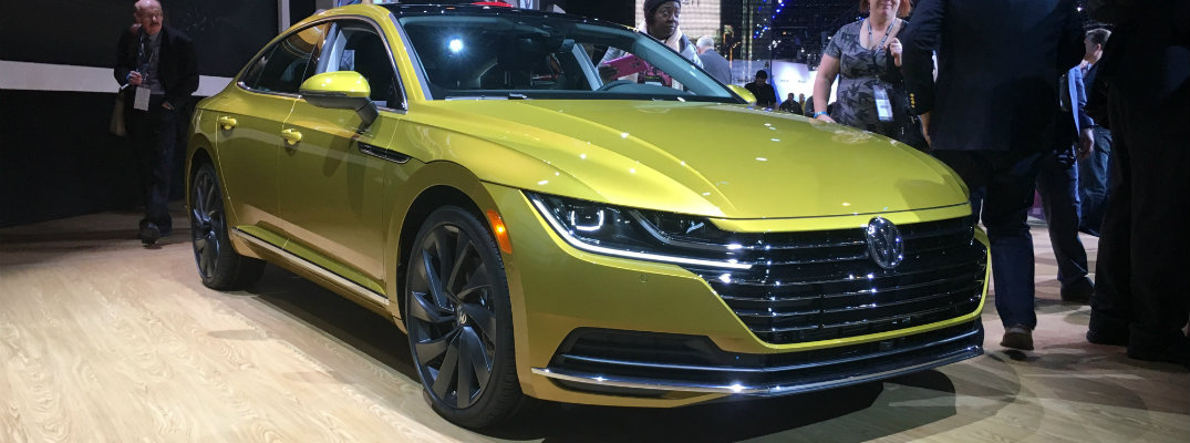 Yellow 2019 VW Arteon on display at the Chicago Auto Show 2018