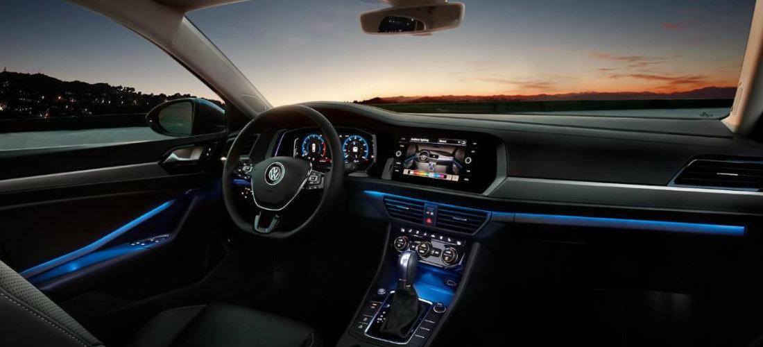 2019 Volkswagen Jetta interior color-changing ambient lighting in blue