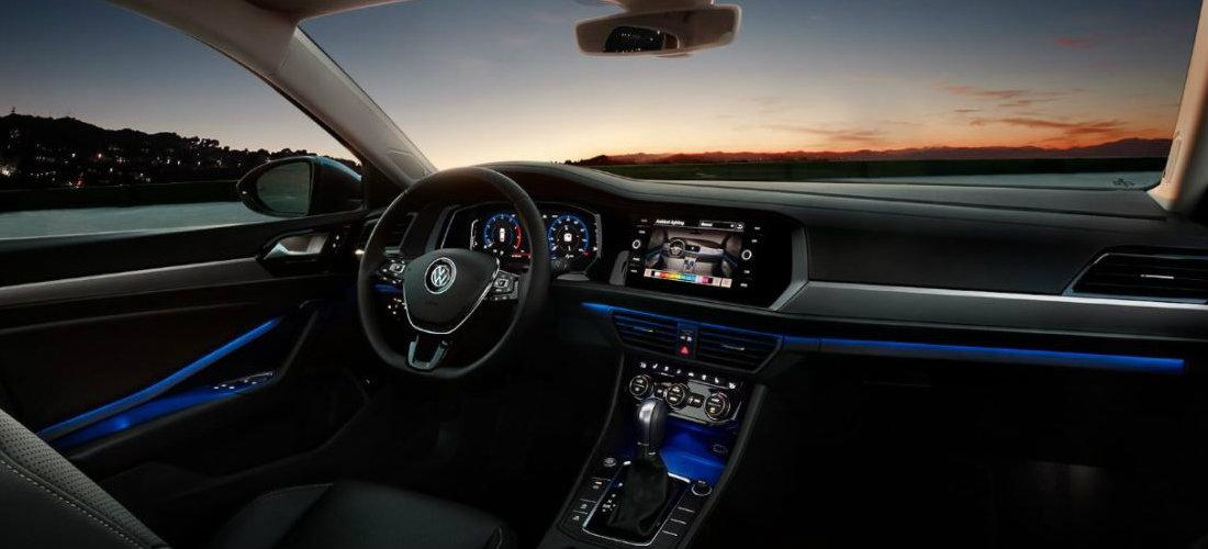 2019 Volkswagen Jetta interior color-changing ambient lighting in dark blue
