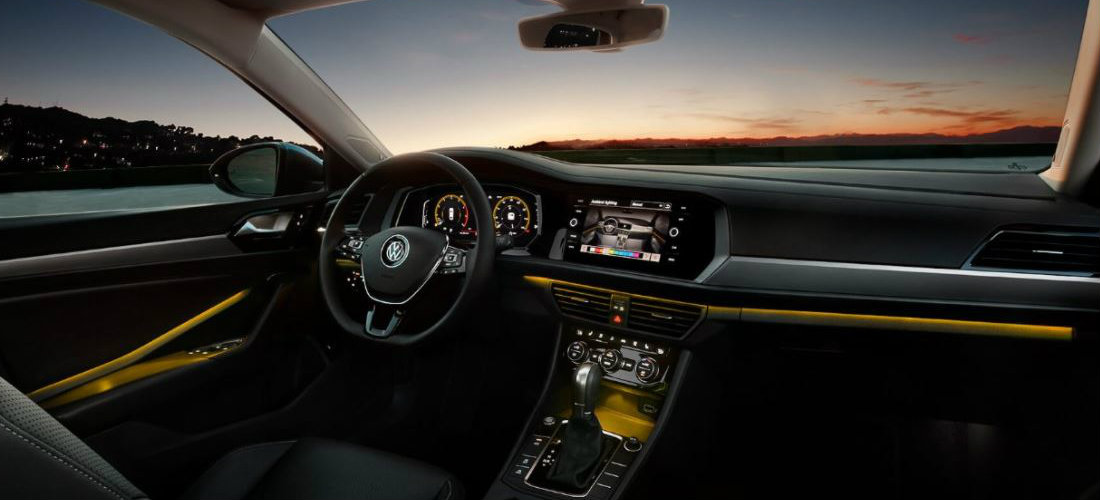 2019 Volkswagen Jetta interior color-changing ambient lighting in gold