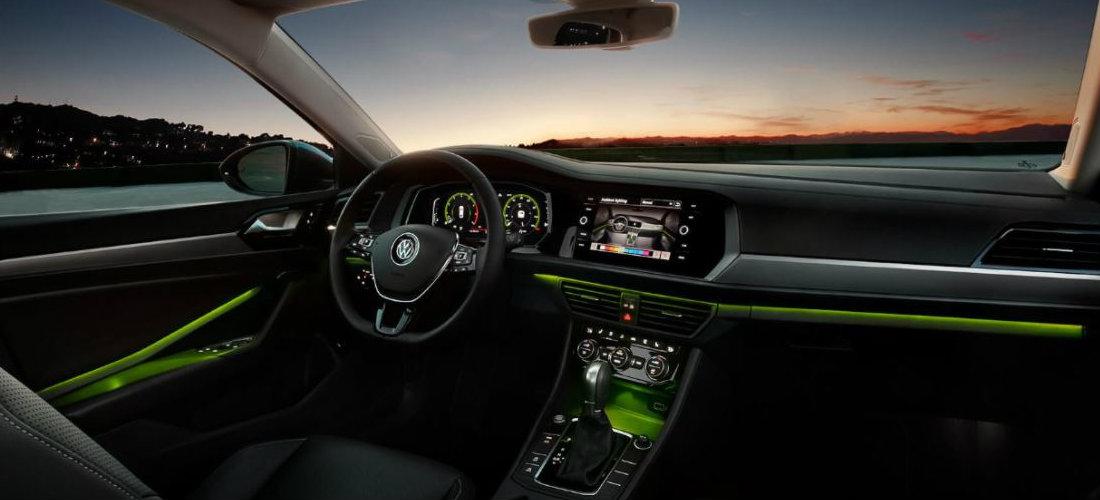 2019 Volkswagen Jetta interior color-changing ambient lighting in green