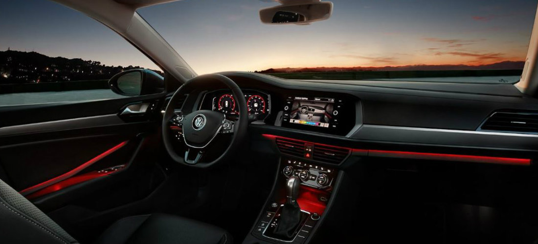 2019 Volkswagen Jetta interior color-changing ambient lighting in red