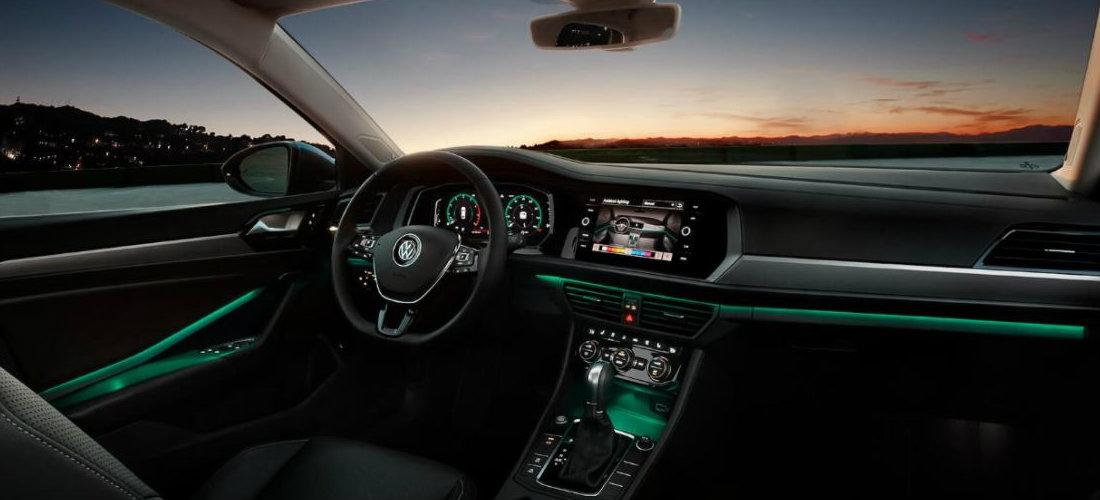 2019 Volkswagen Jetta interior color-changing ambient lighting in teal