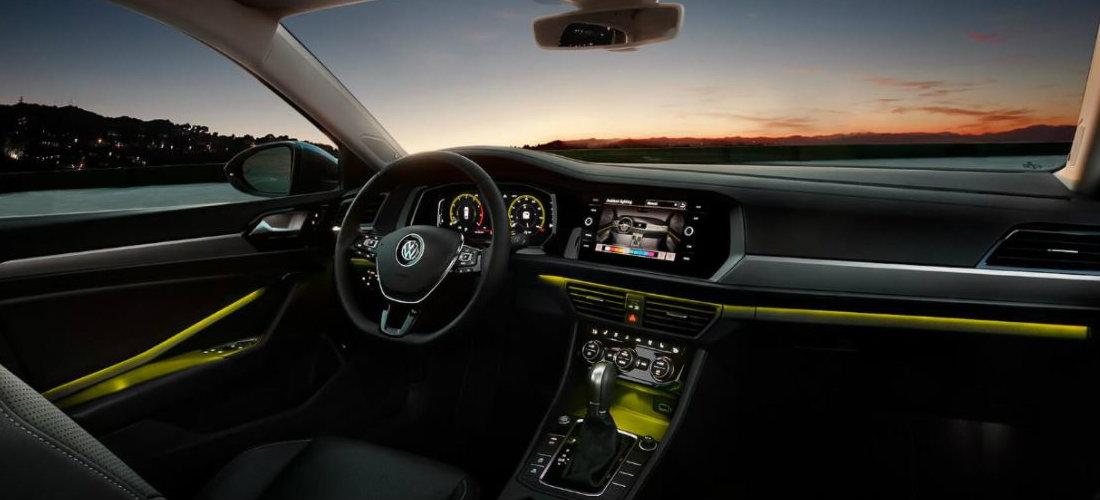 2019 Volkswagen Jetta interior color-changing ambient lighting in yellow