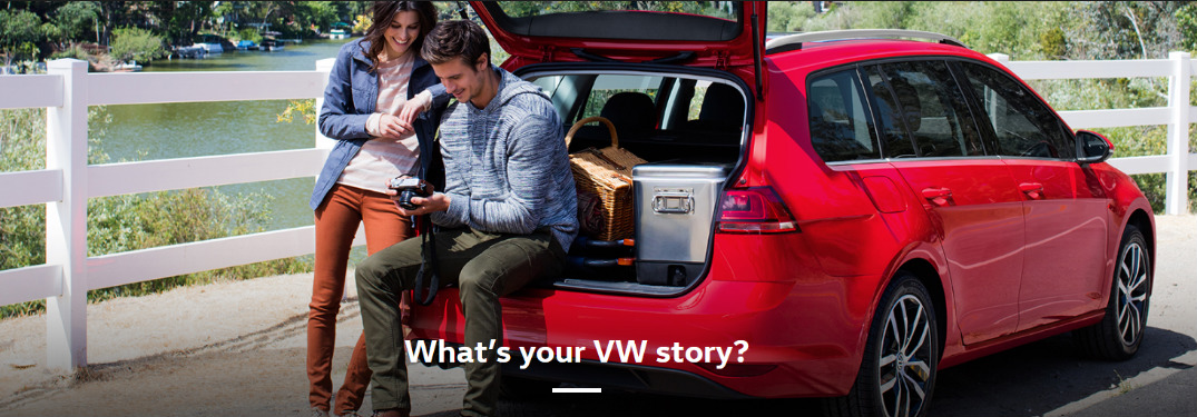 """What's Your VW Story?"" Title and Man and Woman Behind a Red Volkswagen Golf SportWagen"