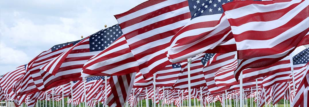 A row of American flags blowing in the wind