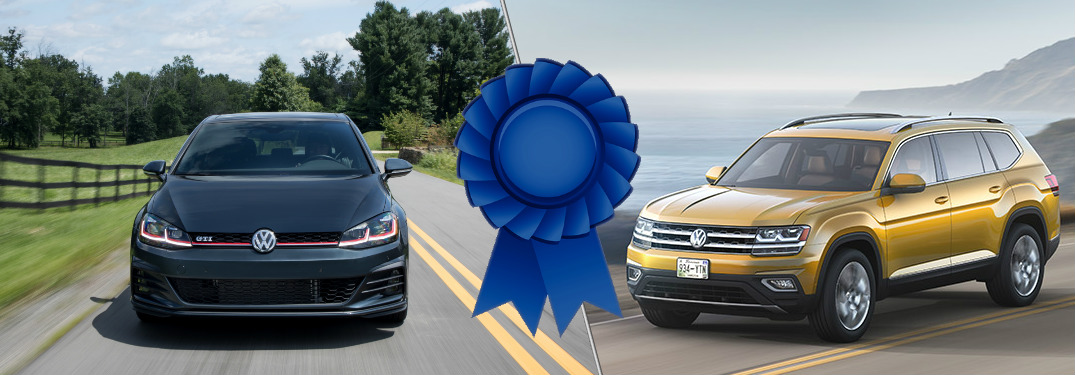 Split screen images of the 2018 VW Atlas and 2018 VW Golf GTI with a blue award between them