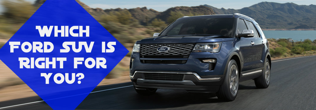 2018 Ford Explorer with the words which Ford SUV is right for you