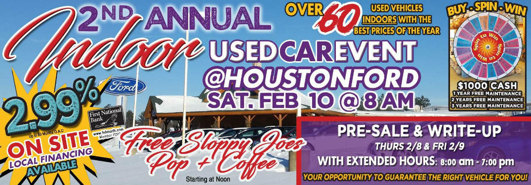 Indoor Used Car Event at Houston Ford Features Best Prices of the Year!