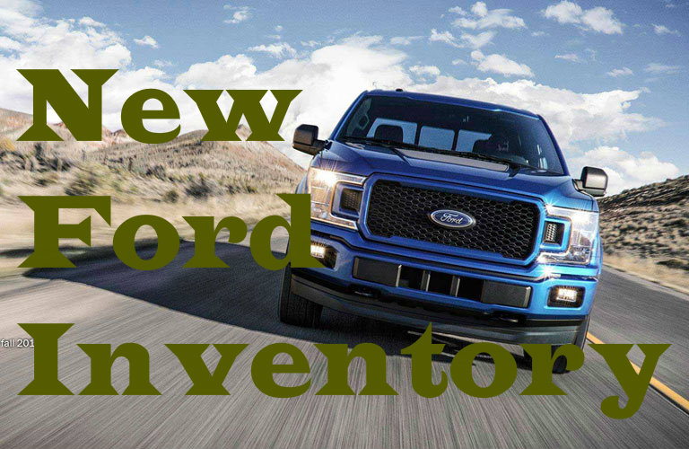 "image of a 2018 Ford F-150 with the words ""New Ford Inventory"""