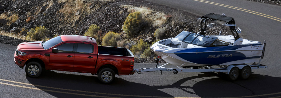 2019 Ford Ranger towing a boat
