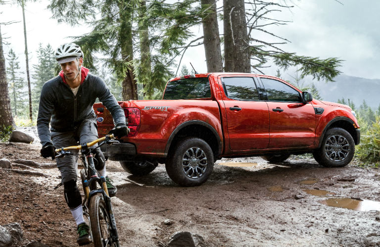 2019 Ford Ranger with bicyclist