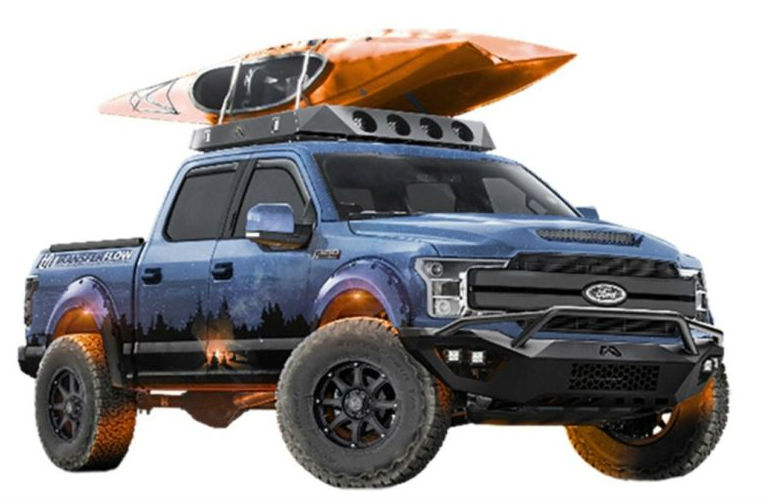 Ford Ranger from SEMA 2018 with a kayak on the roof