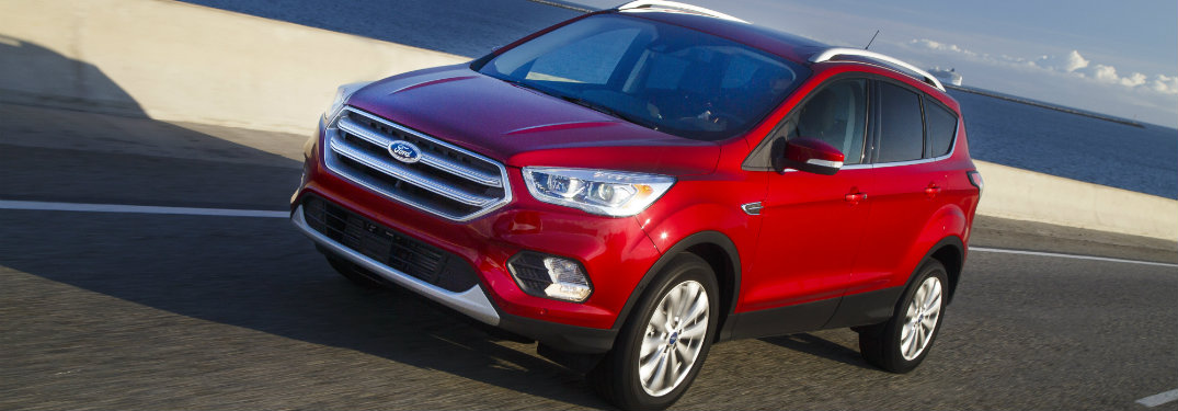 front view of red ford escape