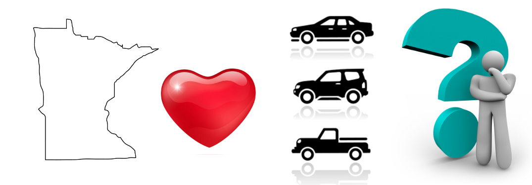 An outline of Minnesota, a red heart, three different vehicle silhouettes, and a thinking humanoid in front of a giant teal question mark stand side-by-side.