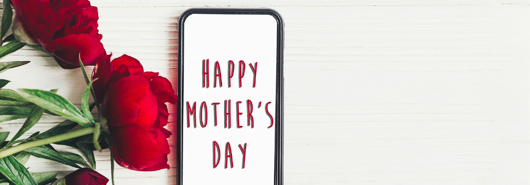 "A few red rises against a white wall, upon which a sign hangs that says, ""Happy Mother's Day."""